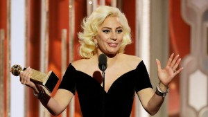 """73rd ANNUAL GOLDEN GLOBE AWARDS -- Pictured: Lady Gaga, """"American Horror Story: Hotel"""", Winner, Best Actress - Limited Series or TV Movie at the 73rd Annual Golden Globe Awards held at the Beverly Hilton Hotel on January 10, 2016 -- (Photo by: Paul Drinkwater/NBC)"""